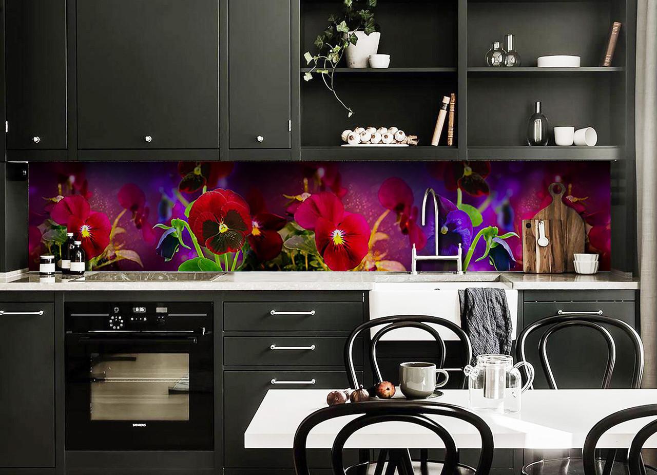 Скинали на кухню Zatarga «Анютины глазки» 650х2500 мм виниловая 3Д наклейка кухонный фартук самоклеящаяся