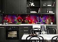 Скинали на кухню Zatarga «Анютины глазки» 650х2500 мм виниловая 3Д наклейка кухонный фартук самоклеящаяся, фото 1