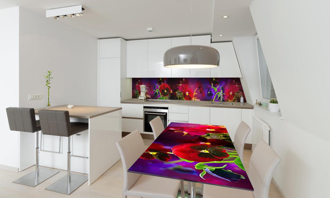 Наклейка 3Д виниловая на стол Zatarga «Анютины глазки» 600х1200 мм для домов, квартир, столов, кофейн,