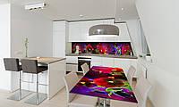 Наклейка 3Д виниловая на стол Zatarga «Анютины глазки» 600х1200 мм для домов, квартир, столов, кофейн,, фото 1