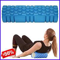 Ролик валик роллер SportVida SV-HK0213 Blue для миофасциального массажа спортивный ролл для йоги пилатеса