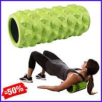 Ролик валик роллер SportVida SV-HK0063 Green для миофасциального массажа спортивный ролл для йоги пилатеса