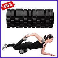 Ролик валик роллер SportVida SV-HK0170 Black для миофасциального массажа спортивный ролл для йоги пилатеса