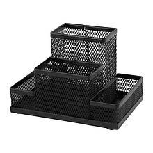 Подставка-органайзер Axent 2117-01-A, 155x103x100 мм, 4 отделения, черная