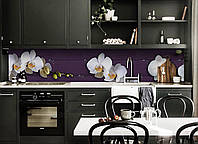 Скинали на кухню Zatarga «Орхидеи Крупные» 600х3000 мм виниловая 3Д наклейка кухонный фартук самоклеящаяся