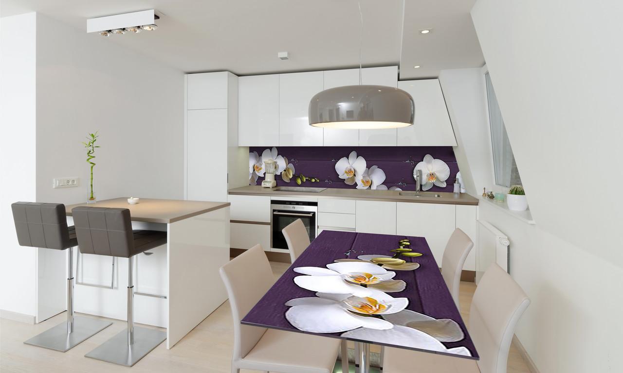 Наклейка 3Д виниловая на стол Zatarga «Орхидеи Крупные» 600х1200 мм для домов, квартир, столов, кофейн,