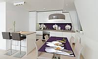 Наклейка 3Д виниловая на стол Zatarga «Орхидеи Крупные» 600х1200 мм для домов, квартир, столов, кофейн,, фото 1