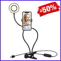 Гибкий держатель штатив для телефона со светодиодной кольцевой лампой для селфи на прищепке Live Streaming