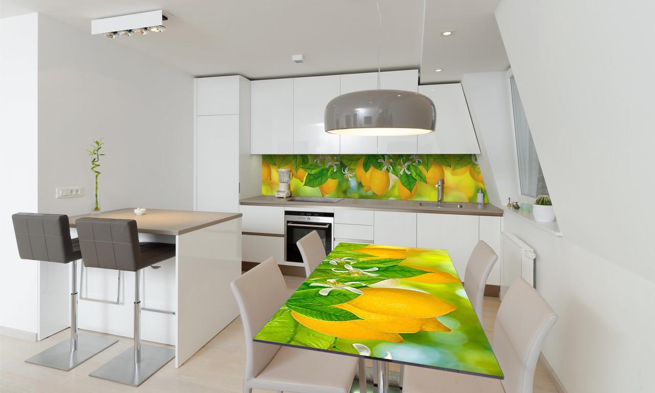 Наклейка 3Д виниловая на стол Zatarga «Лимоны» 600х1200 мм для домов, квартир, столов, кофейн, кафе