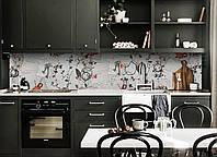 Скинали на кухню Zatarga «Письма и Цветы» 600х3000 мм виниловая 3Д наклейка кухонный фартук самоклеящаяся, фото 1