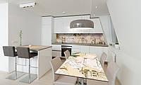 Наклейка 3Д виниловая на стол Zatarga «Карта мира» 650х1200 мм для домов, квартир, столов, кофейн, кафе, фото 1