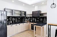 Скинали на кухню Zatarga «Черно-белый Париж» 650х2500 мм виниловая 3Д наклейка кухонный фартук самоклеящаяся, фото 1
