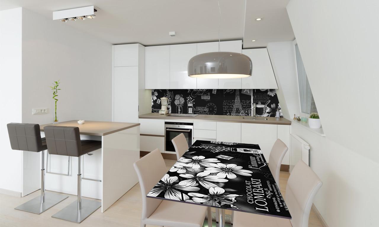 Наклейка 3Д виниловая на стол Zatarga «Черно-белый Париж» 600х1200 мм для домов, квартир, столов,
