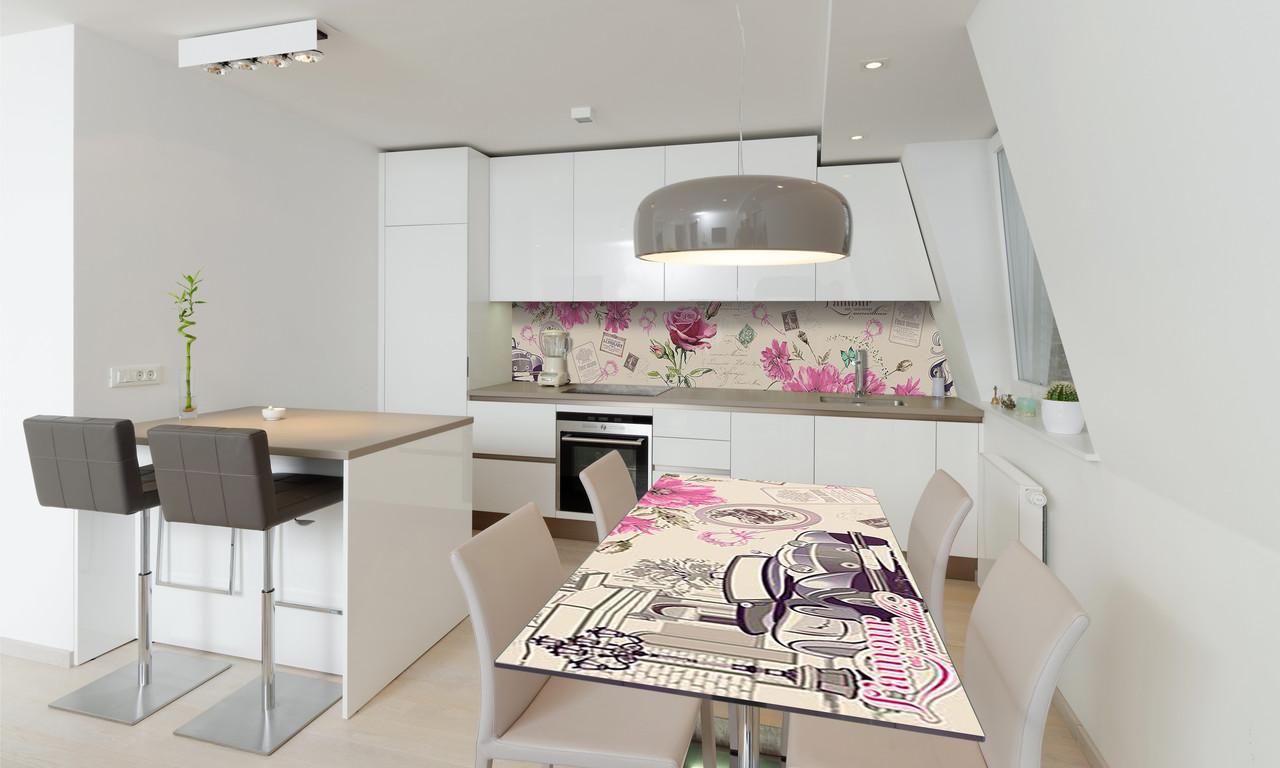 Наклейка 3Д виниловая на стол Zatarga «Роза Гламур» 600х1200 мм для домов, квартир, столов, кофейн,