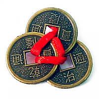 Монети 3 шт 2см в гаманець темні червона стрічка (20241)