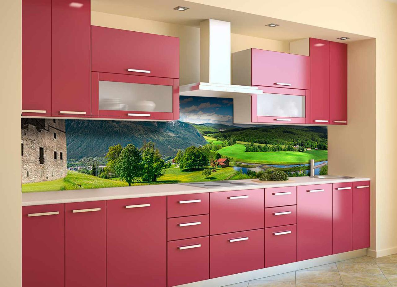 Скинали на кухню Zatarga «Долина возле Замка» 600х2500 мм виниловая 3Д наклейка кухонный фартук самоклеящаяся
