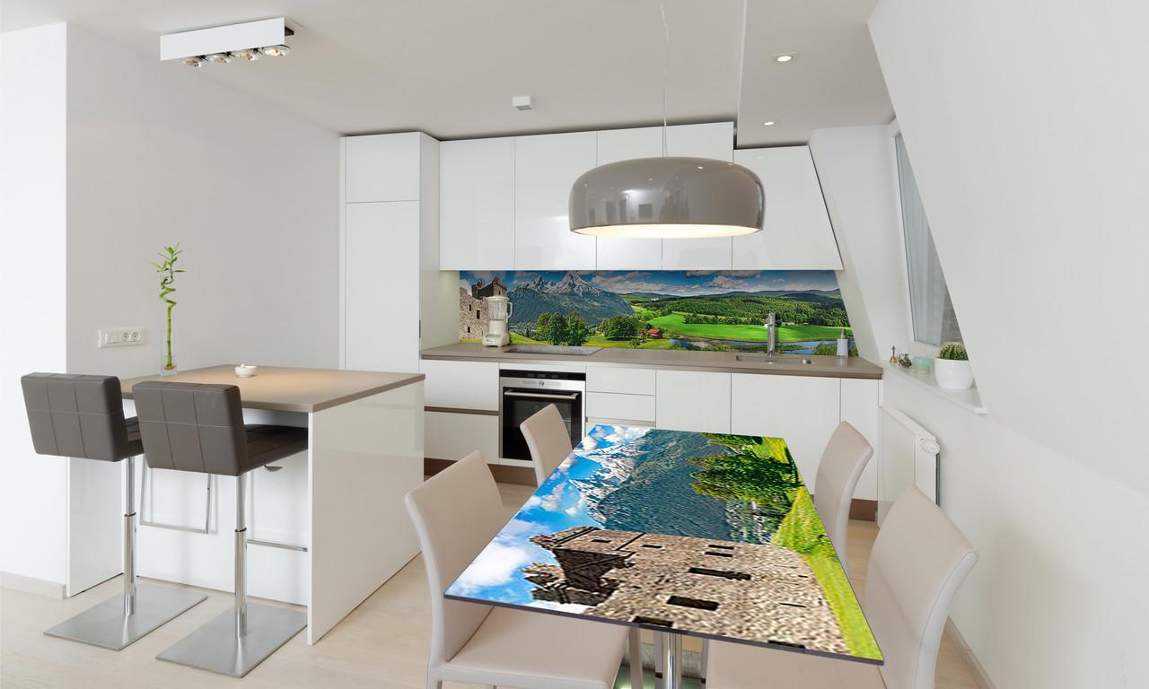 Наклейка 3Д виниловая на стол Zatarga «Долина возле Замка» 650х1200 мм для домов, квартир, столов,