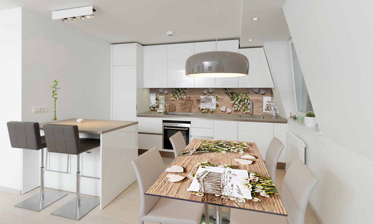 Наклейка 3Д виниловая на стол Zatarga «Полевые цветы белые» 600х1200 мм для домов, квартир, столов,