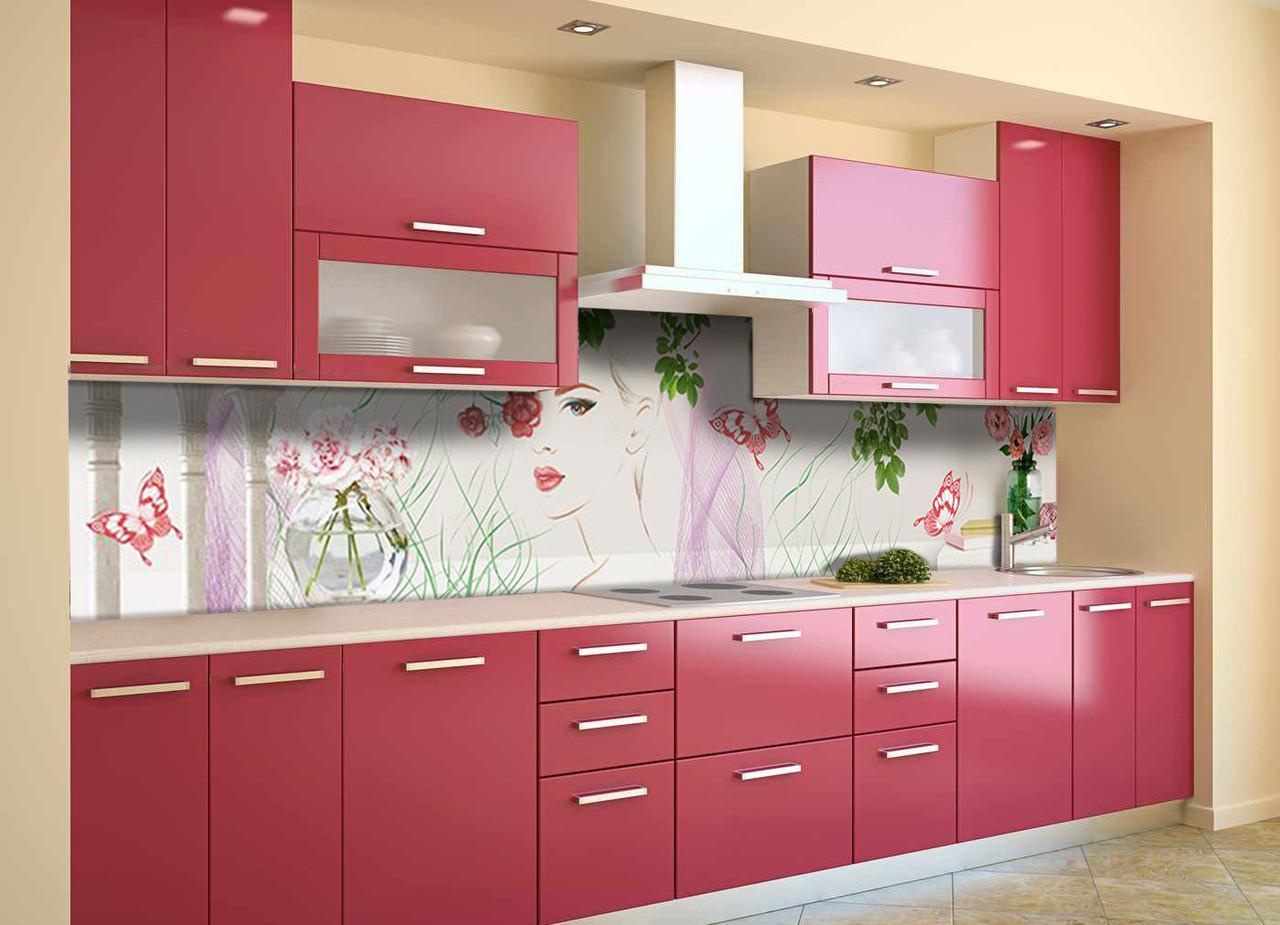 Скинали на кухню Zatarga «Девушка Весна» 600х3000 мм виниловая 3Д наклейка кухонный фартук самоклеящаяся