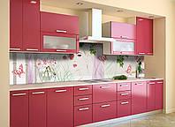 Скинали на кухню Zatarga «Девушка Весна» 600х3000 мм виниловая 3Д наклейка кухонный фартук самоклеящаяся, фото 1