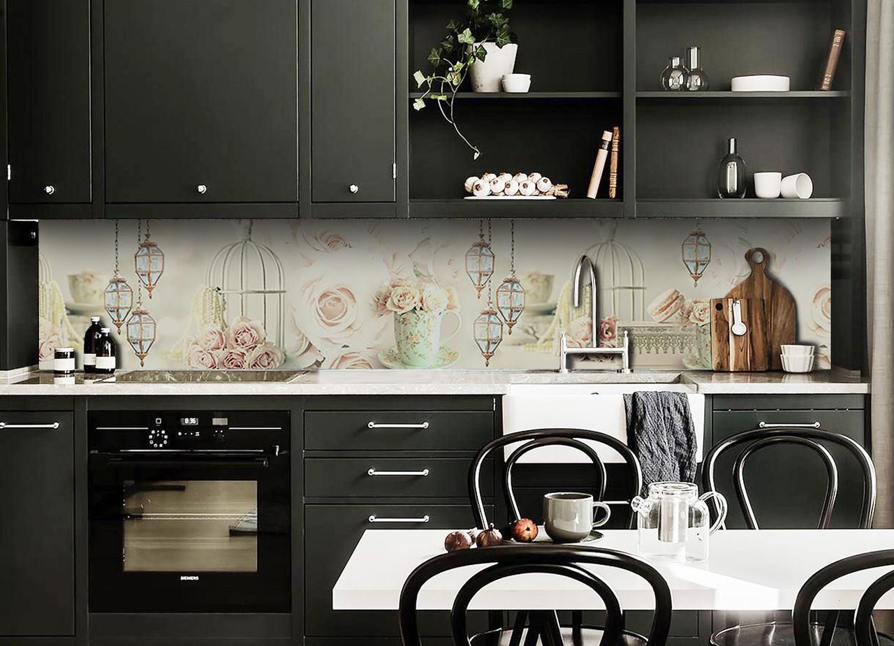 Скинали на кухню Zatarga «Фонари и Розы» 600х3000 мм виниловая 3Д наклейка кухонный фартук самоклеящаяся