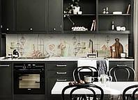 Скинали на кухню Zatarga «Фонари и Розы» 600х3000 мм виниловая 3Д наклейка кухонный фартук самоклеящаяся, фото 1