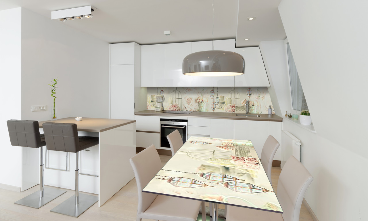 Наклейка 3Д виниловая на стол Zatarga «Фонари и Розы» 600х1200 мм для домов, квартир, столов, кофейн,