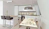 Наклейка 3Д виниловая на стол Zatarga «Фонари и Розы» 600х1200 мм для домов, квартир, столов, кофейн,, фото 1