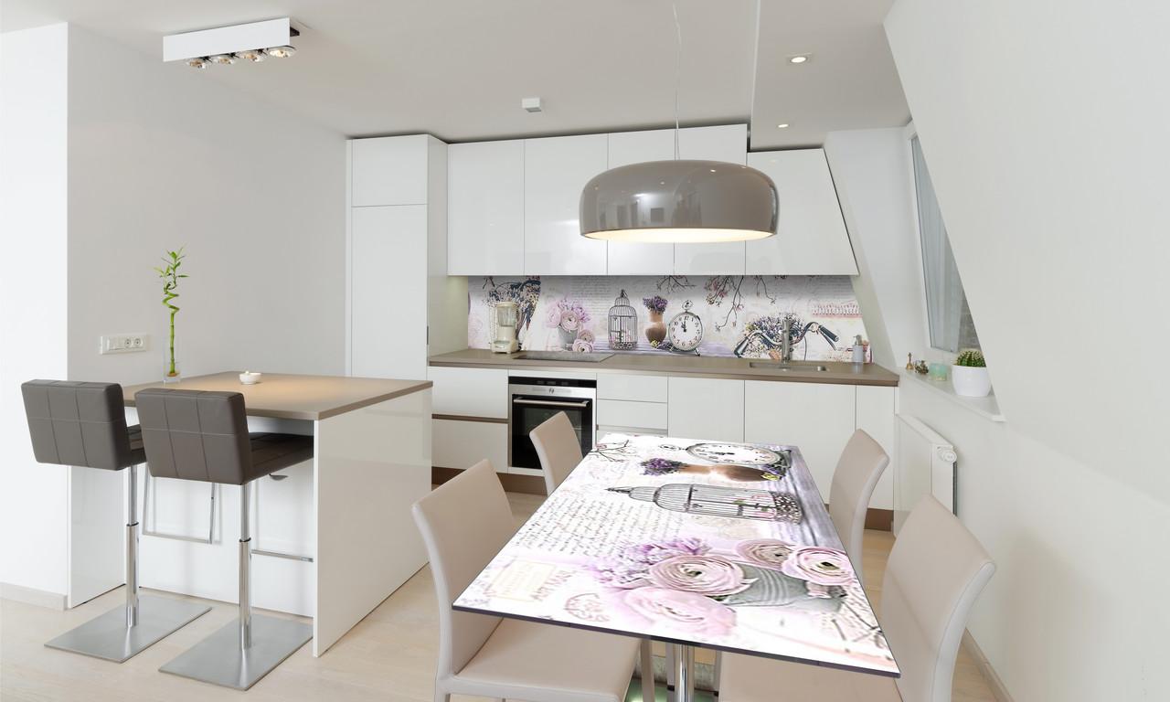 Наклейка 3Д виниловая на стол Zatarga «Натюрморт Прованс» 600х1200 мм для домов, квартир, столов,