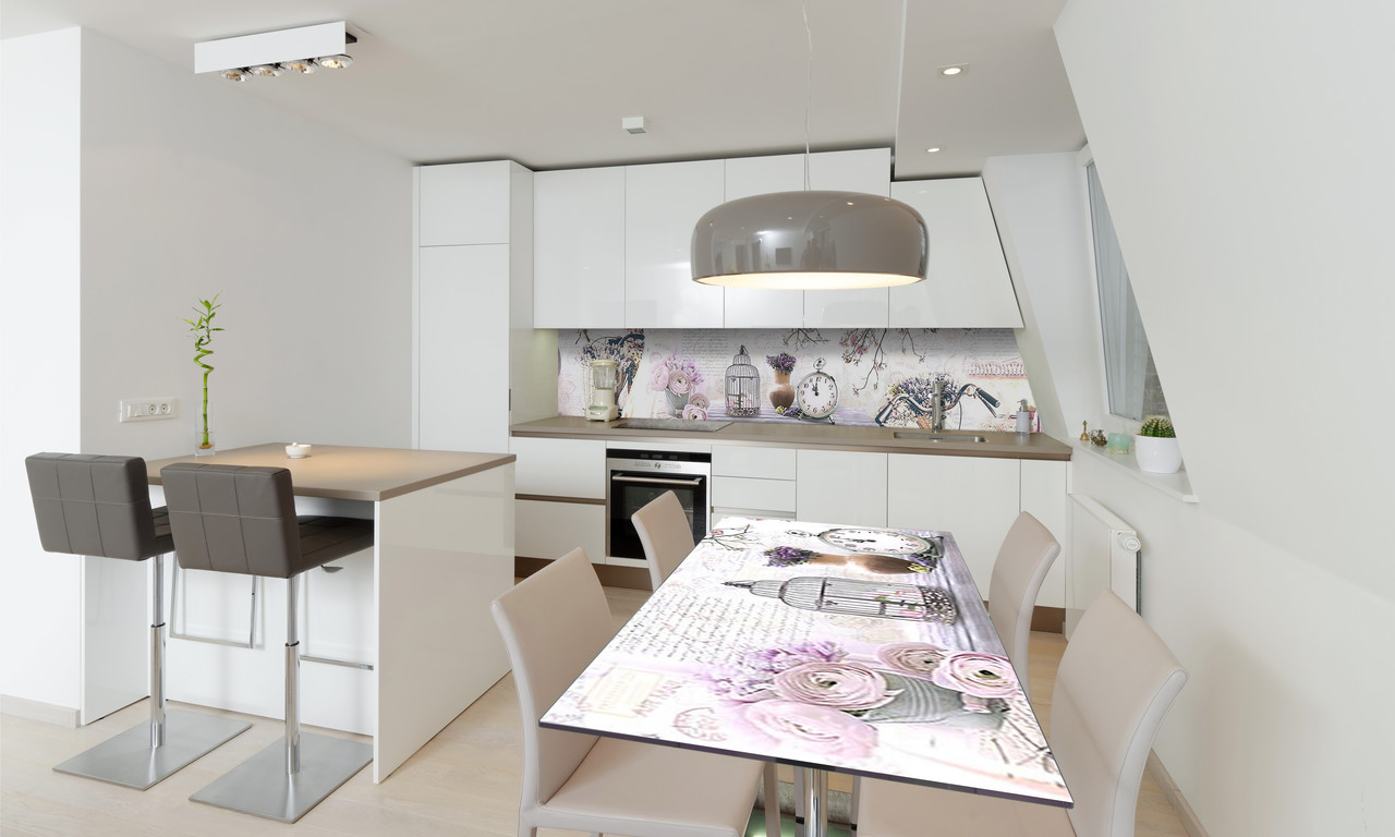 Наклейка 3Д виниловая на стол Zatarga «Натюрморт Прованс» 650х1200 мм для домов, квартир, столов,