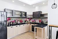 Скинали на кухню Zatarga «Венеция Орхидеи» 650х2500 мм виниловая 3Д наклейка кухонный фартук самоклеящаяся, фото 1