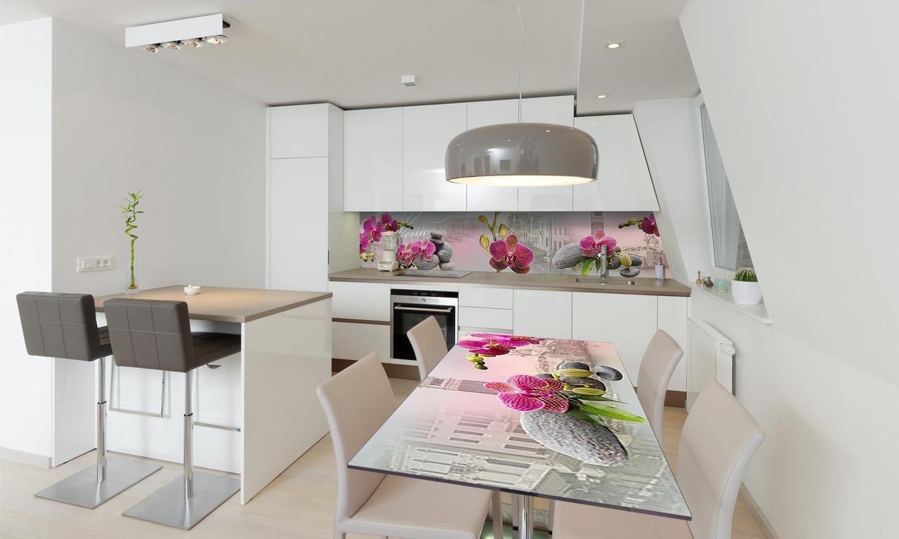 Наклейка 3Д виниловая на стол Zatarga «Венеция Орхидеи» 650х1200 мм для домов, квартир, столов, кофейн,