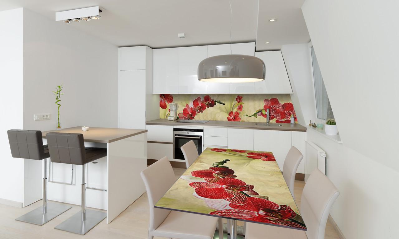 Наклейка 3Д виниловая на стол Zatarga «Ветки Красных Орхидей» 600х1200 мм для домов, квартир, столов,