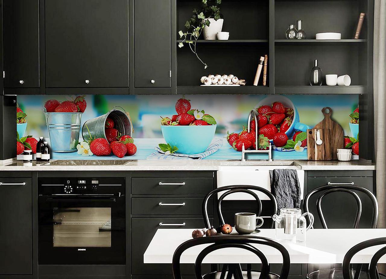 Скинали на кухню Zatarga «Суниця» 600х3000 мм вінілова 3Д Наліпка кухонний фартух самоклеюча