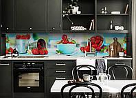 Скинали на кухню Zatarga «Земляника» 600х3000 мм виниловая 3Д наклейка кухонный фартук самоклеящаяся, фото 1