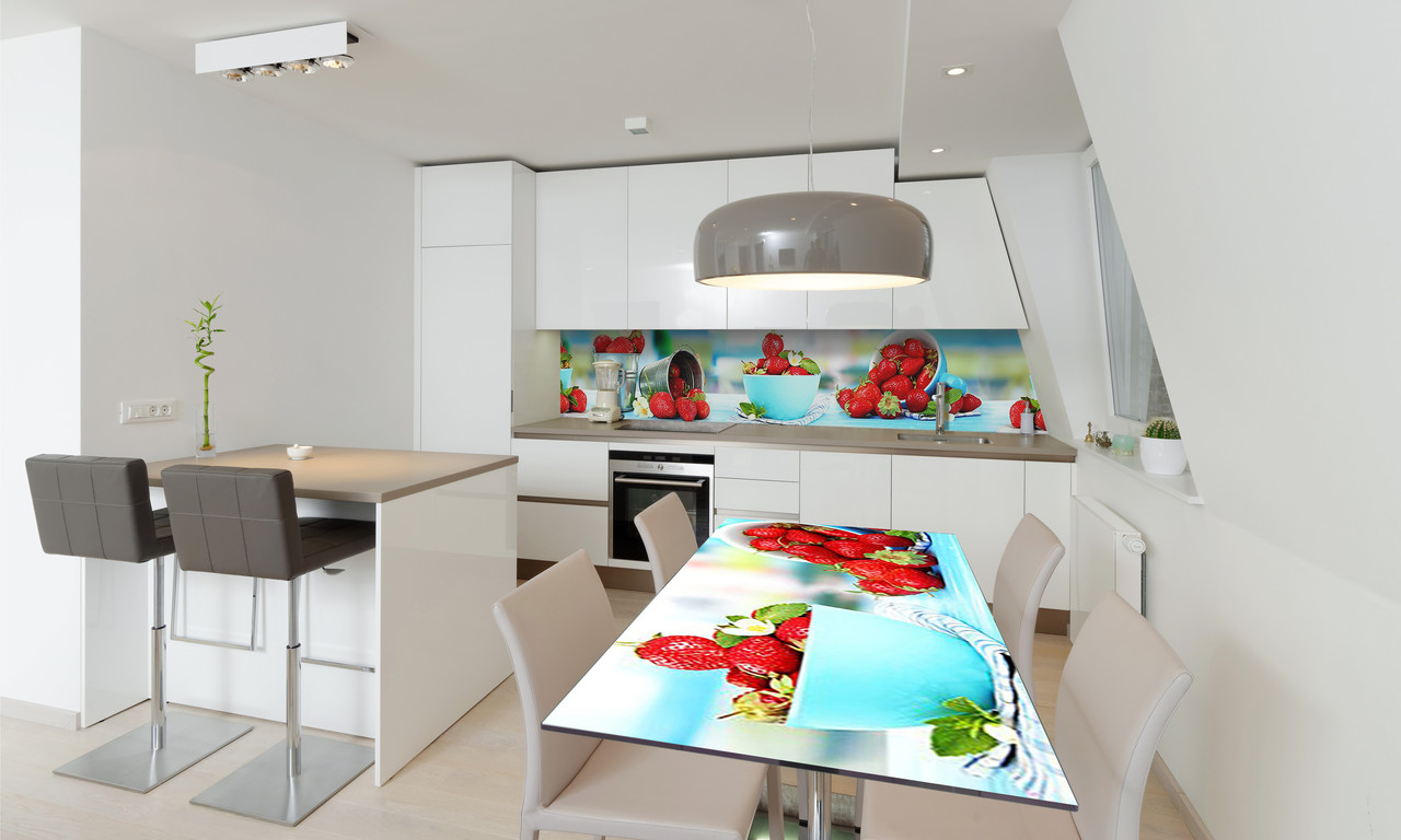 Наклейка 3Д виниловая на стол Zatarga «Земляника» 600х1200 мм для домов, квартир, столов, кофейн, кафе