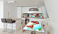 Наклейка 3Д виниловая на стол Zatarga «Земляника» 600х1200 мм для домов, квартир, столов, кофейн, кафе, фото 1