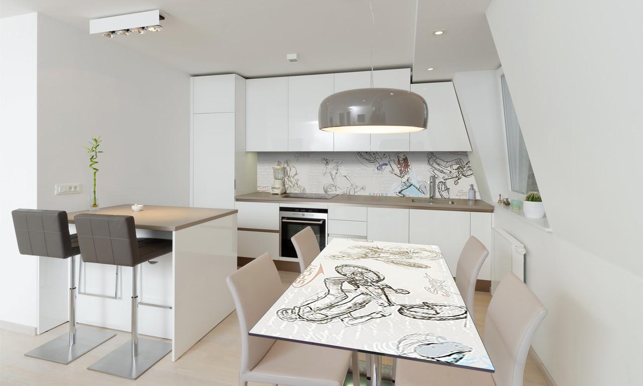 Наклейка 3Д виниловая на стол Zatarga «Экстрим» 600х1200 мм для домов, квартир, столов, кофейн, кафе