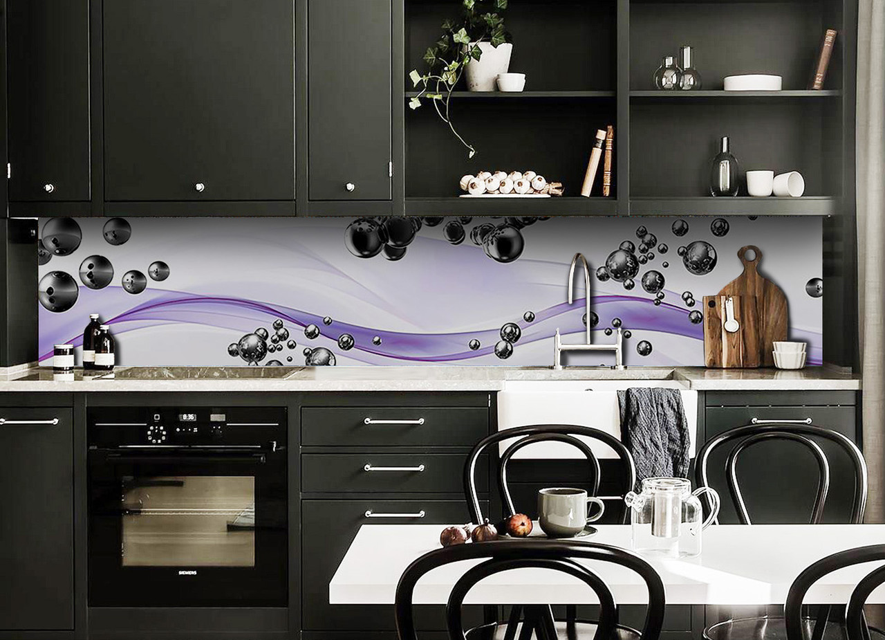 Скинали на кухню Zatarga «Стальные шары 02» 600х3000 мм виниловая 3Д наклейка кухонный фартук самоклеящаяся
