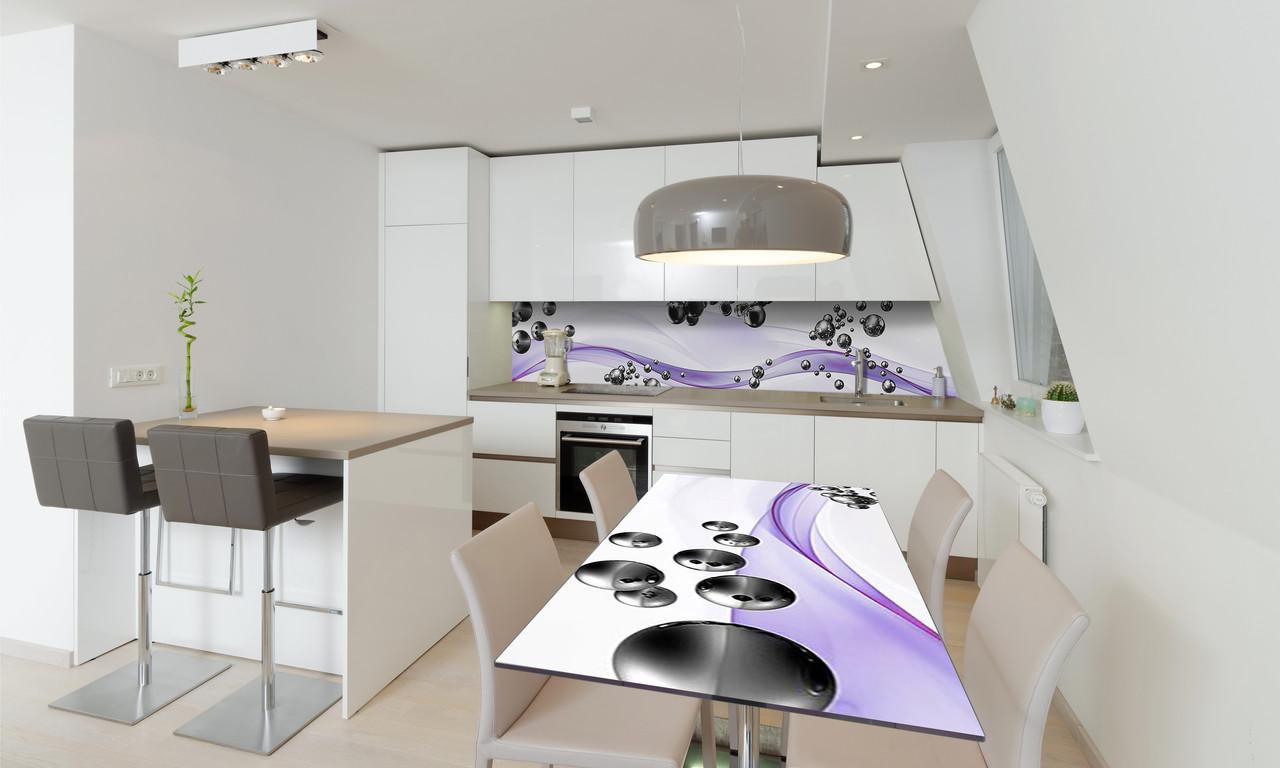 Наклейка 3Д виниловая на стол Zatarga «Стальные шары 02» 600х1200 мм для домов, квартир, столов,
