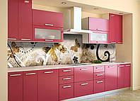 Скинали на кухню Zatarga «Бабочки и Завитки» 650х2500 мм виниловая 3Д наклейка кухонный фартук самоклеящаяся, фото 1