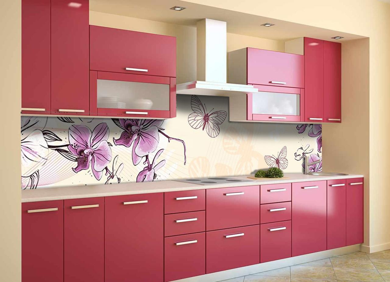 Скинали на кухню Zatarga «Нарисованные Орхидеи» 650х2500 мм виниловая 3Д наклейка кухонный фартук