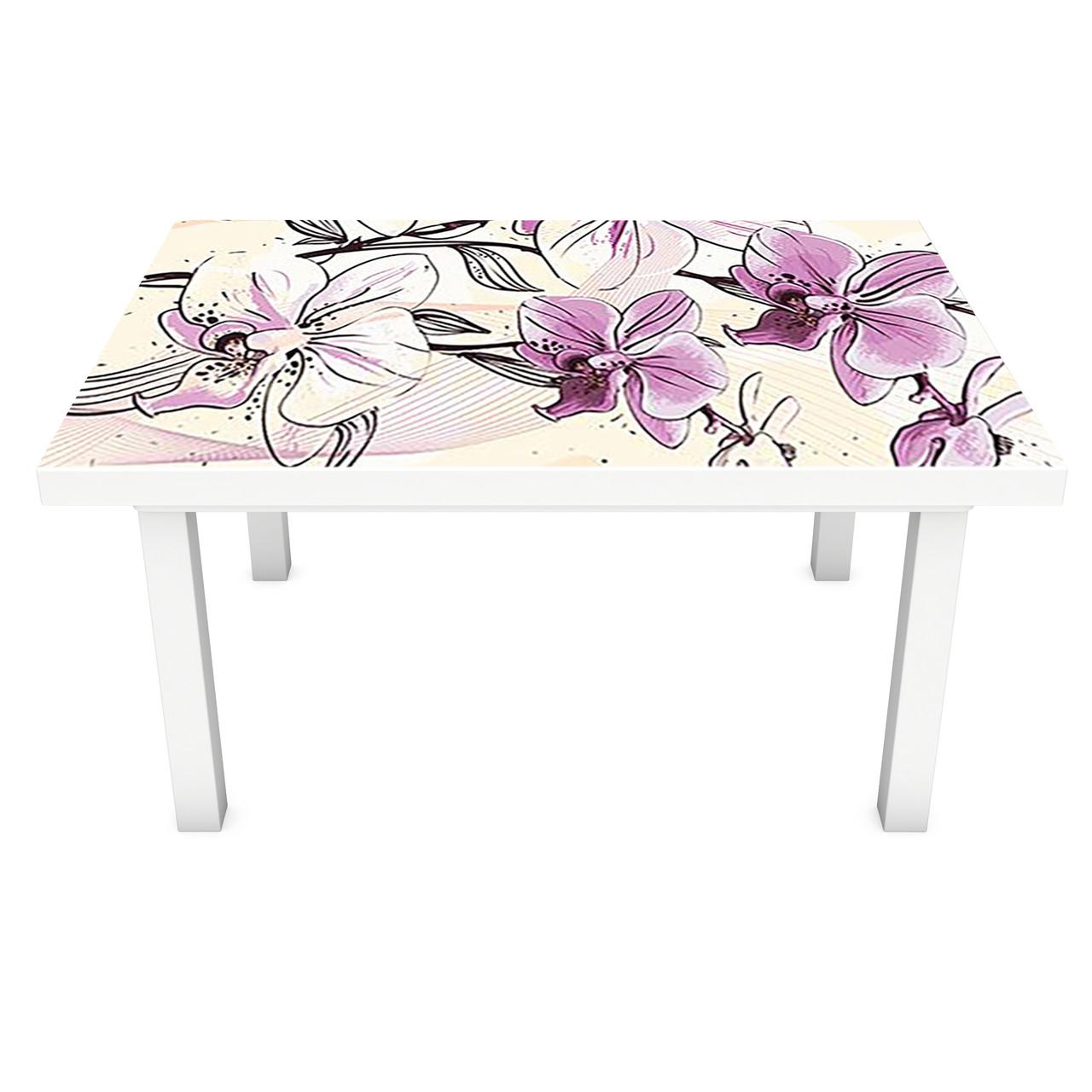 Наклейка 3Д виниловая на стол Zatarga «Нарисованные Орхидеи» 600х1200 мм для домов, квартир, столов,