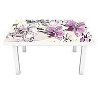 Наклейка 3Д виниловая на стол Zatarga «Нарисованные Орхидеи» 600х1200 мм для домов, квартир, столов, , фото 1