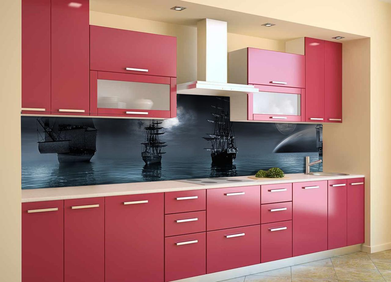 Скинали на кухню Zatarga «Ночные Корабли» 600х2500 мм виниловая 3Д наклейка кухонный фартук самоклеящаяся