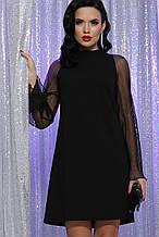Нарядное платье с прозрачными рукавами в черном цвете Вилма