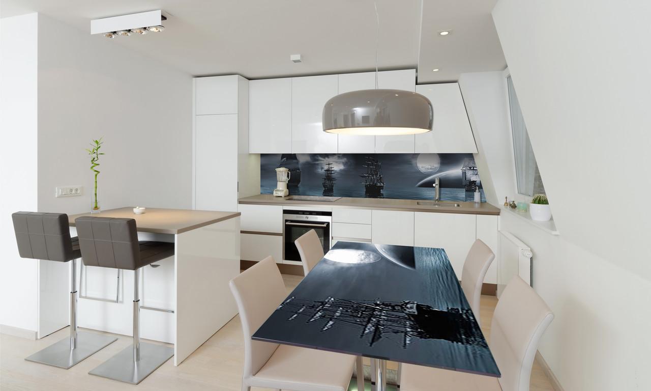 Наклейка 3Д виниловая на стол Zatarga «Ночные Корабли» 600х1200 мм для домов, квартир, столов, кофейн,