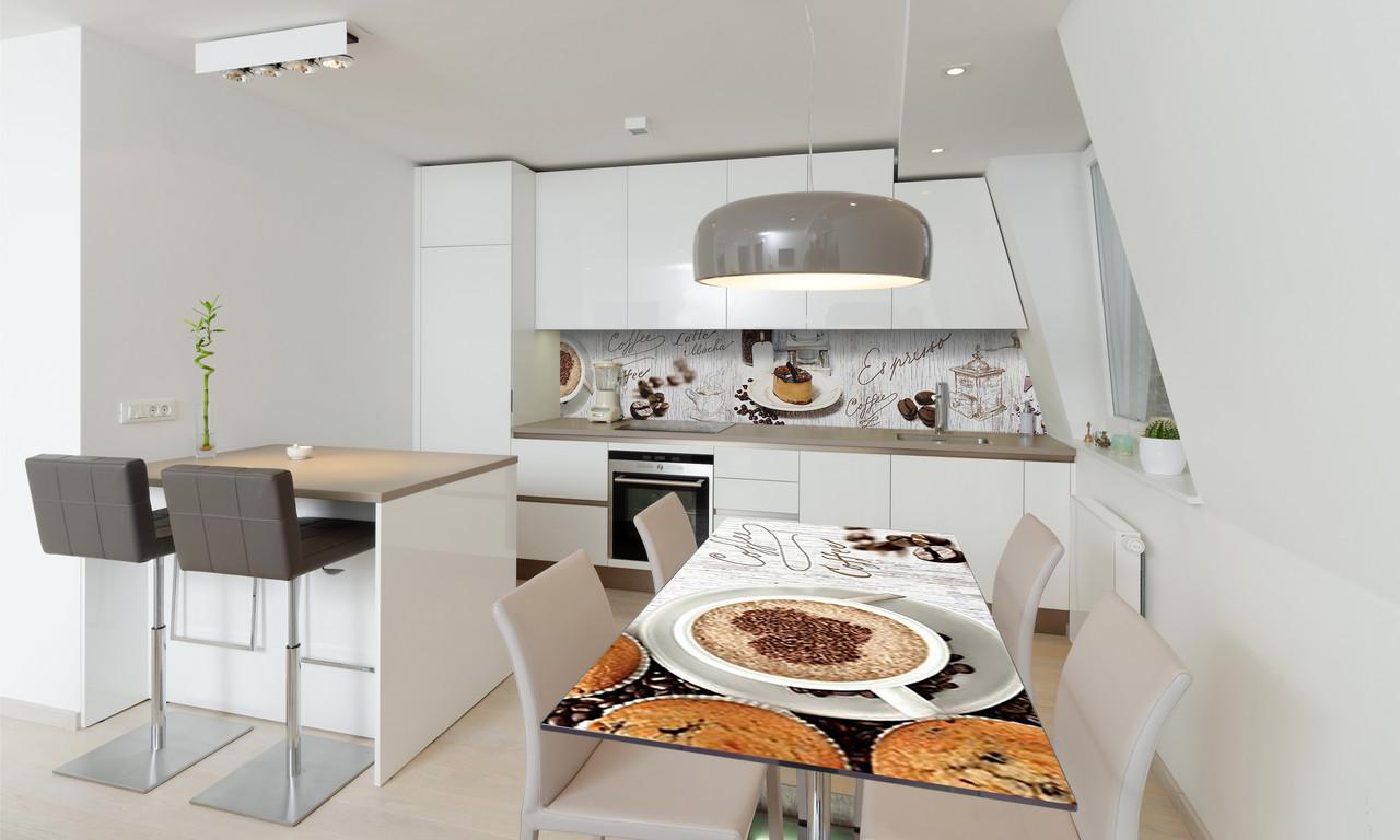 Наклейка 3Д виниловая на стол Zatarga «Тирамису» 650х1200 мм для домов, квартир, столов, кофейн, кафе
