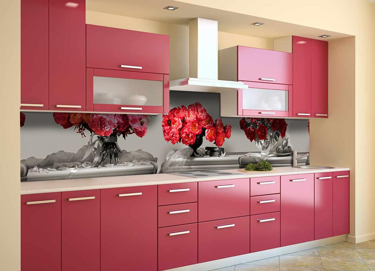 Скинали на кухню Zatarga «Красные Пионы» 600х2500 мм виниловая 3Д наклейка кухонный фартук самоклеящаяся