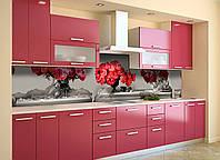 Скинали на кухню Zatarga «Красные Пионы» 600х2500 мм виниловая 3Д наклейка кухонный фартук самоклеящаяся, фото 1
